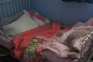 The Finished Product - not the neatest bed ever made but done by Josie all by herself!